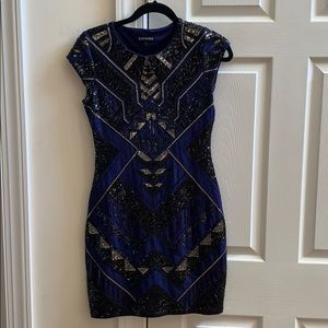 Blue and Black Sequence Dress